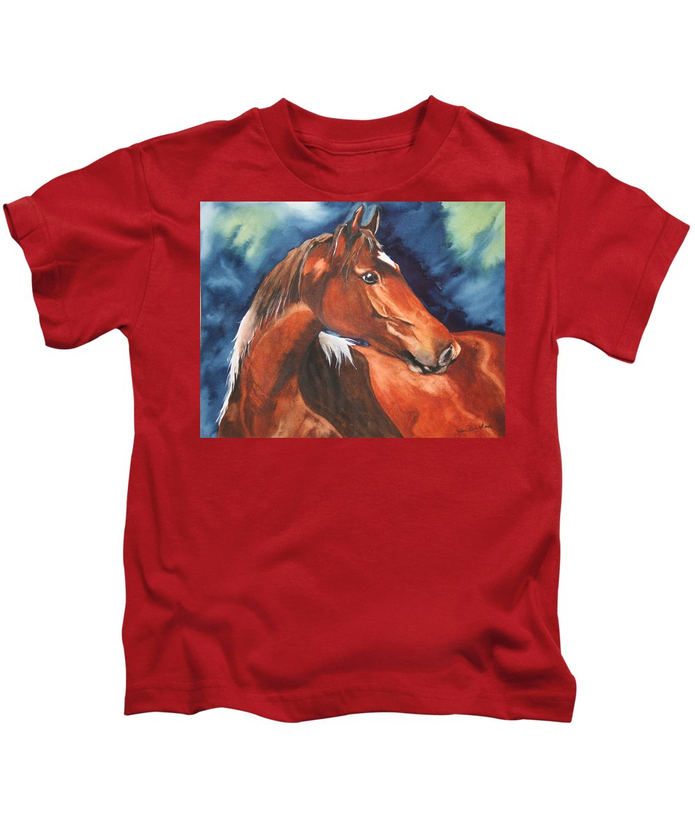 Horse Kids T-Shirt featuring the painting Golden Boy by Jean Blackmer