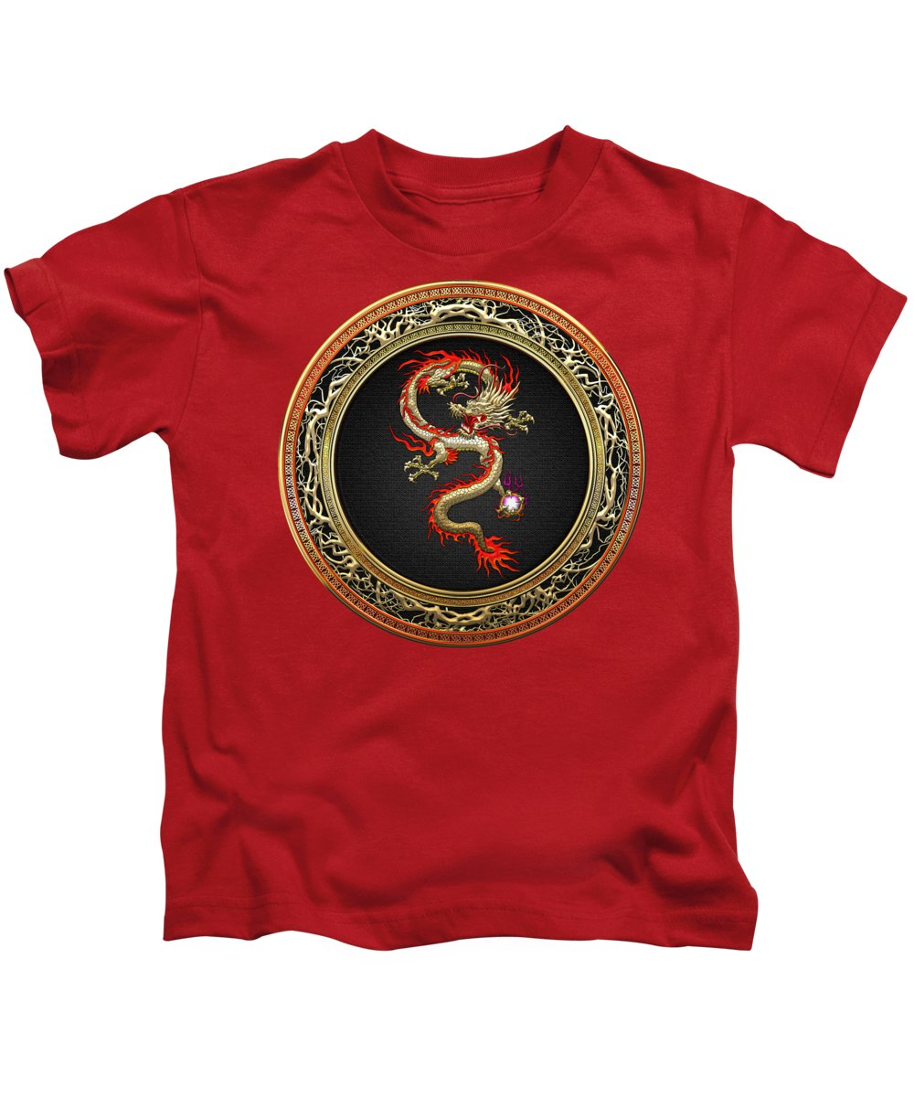 'treasure Trove' By Serge Averbukh Kids T-Shirt featuring the digital art Golden Chinese Dragon Fucanglong by Serge Averbukh
