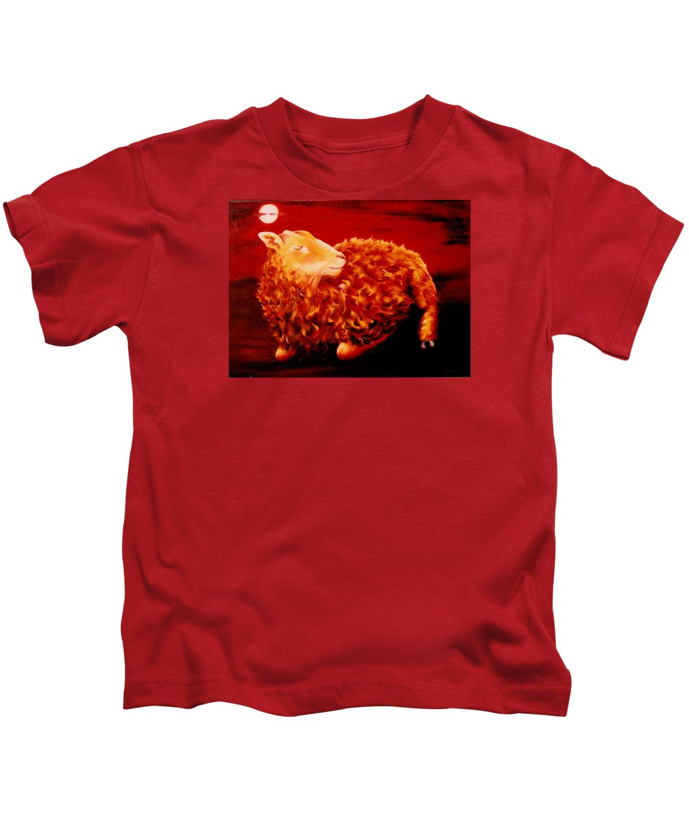 Sunset Kids T-Shirt featuring the painting Golden Fleece by Mark Cawood