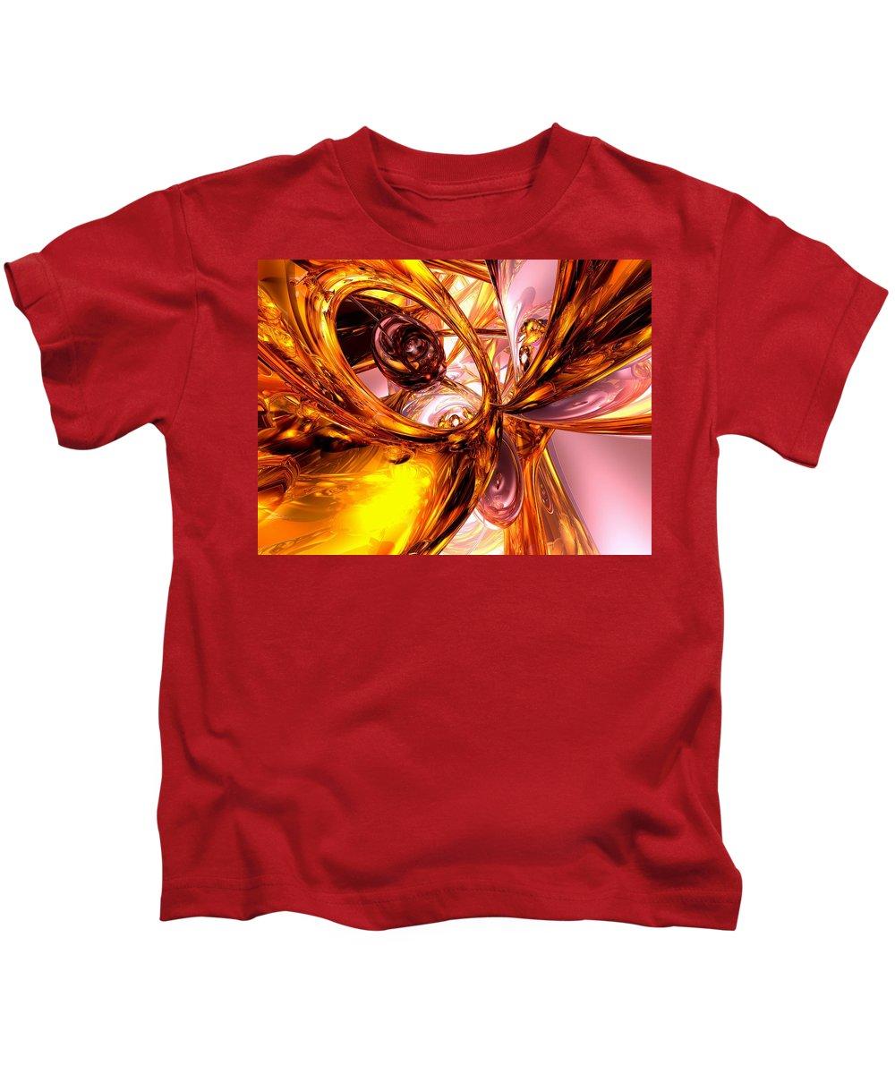 3d Kids T-Shirt featuring the digital art Golden Maelstrom Abstract by Alexander Butler