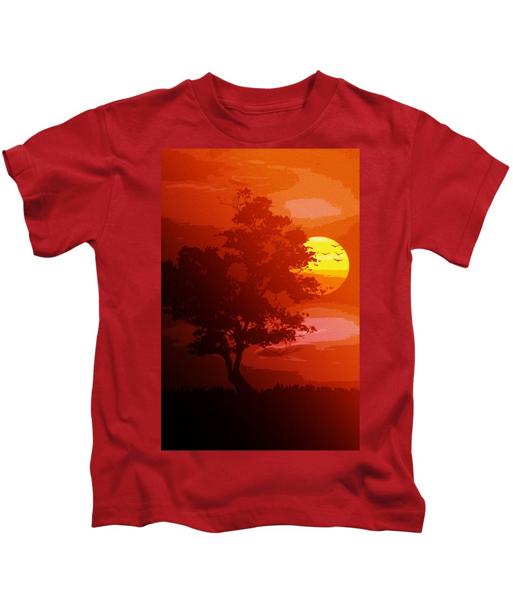 Golden Rays Kids T-Shirt featuring the painting Golden Rays Of The Sun by Andrea Mazzocchetti