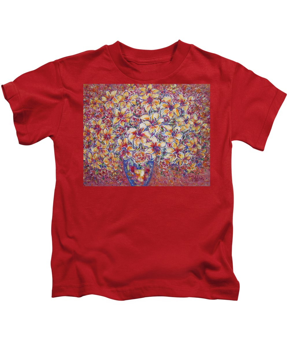 Lily Kids T-Shirt featuring the painting Golden Splendor by Natalie Holland