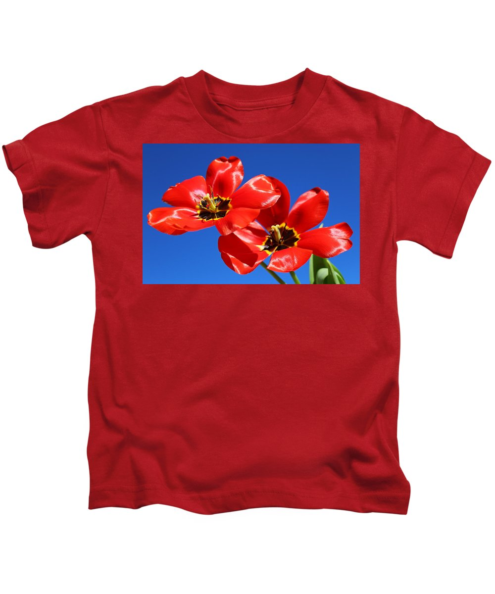 Beautiful Flowers Kids T-Shirt featuring the photograph Gorgeous Red Tulips. by Elisabeth Witte