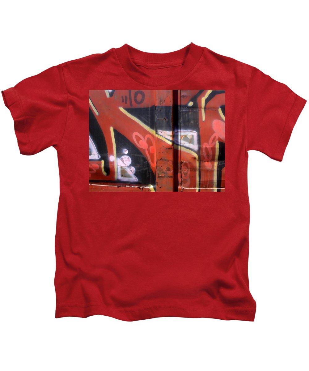 Train Kids T-Shirt featuring the photograph Graffiti Closeup by Anne Cameron Cutri