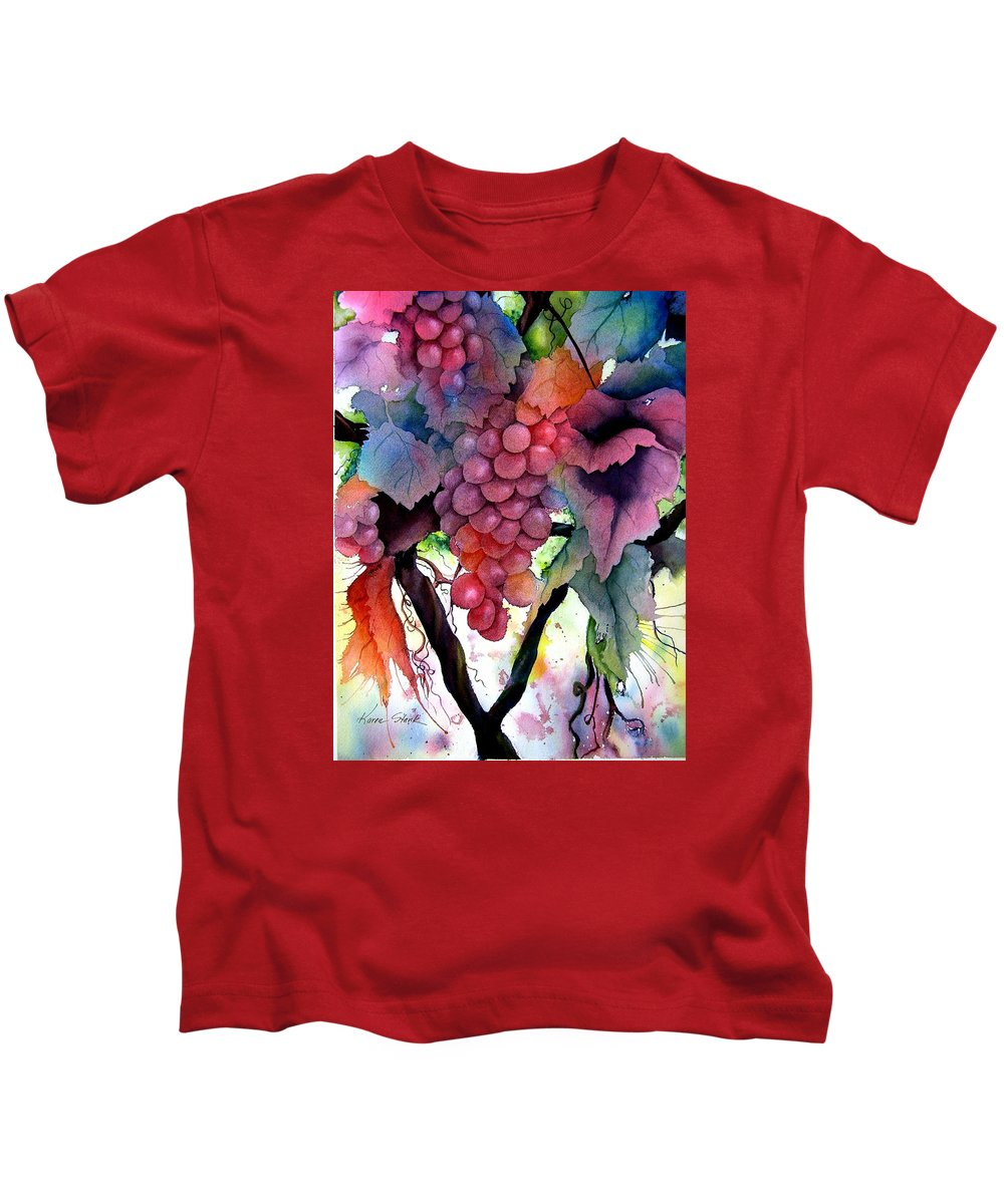 Grape Kids T-Shirt featuring the painting Grapes IIi by Karen Stark