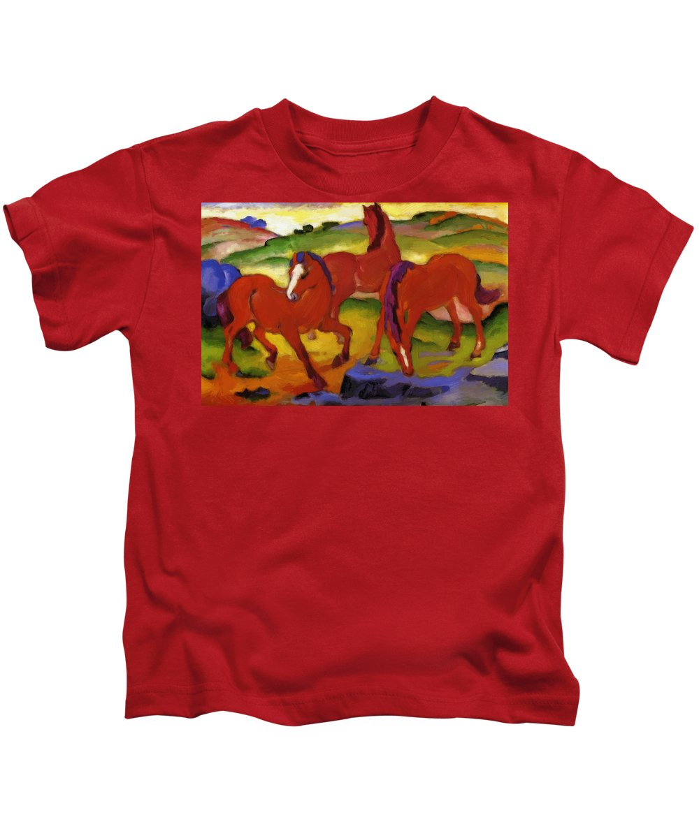 Grazing Kids T-Shirt featuring the painting Grazing Horses Iv The Red Horses 1911 by Marc Franz