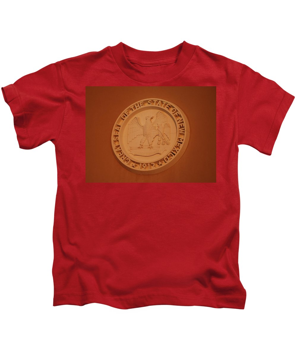 Eagle Kids T-Shirt featuring the photograph Great Seal Of The State Of New Mexico 1912 by Rob Hans