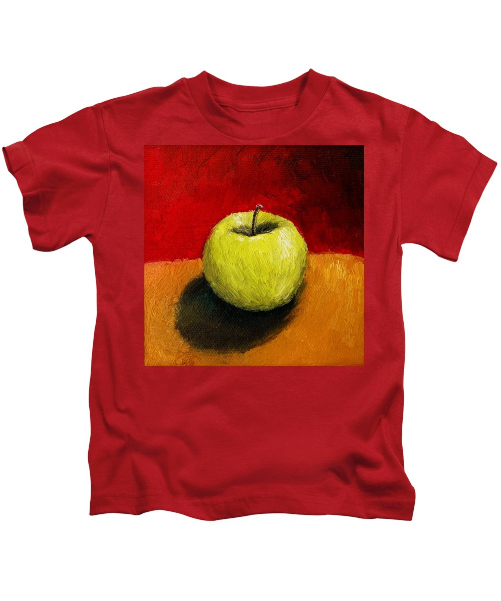 Apple Kids T-Shirt featuring the painting Green Apple With Red And Gold by Michelle Calkins