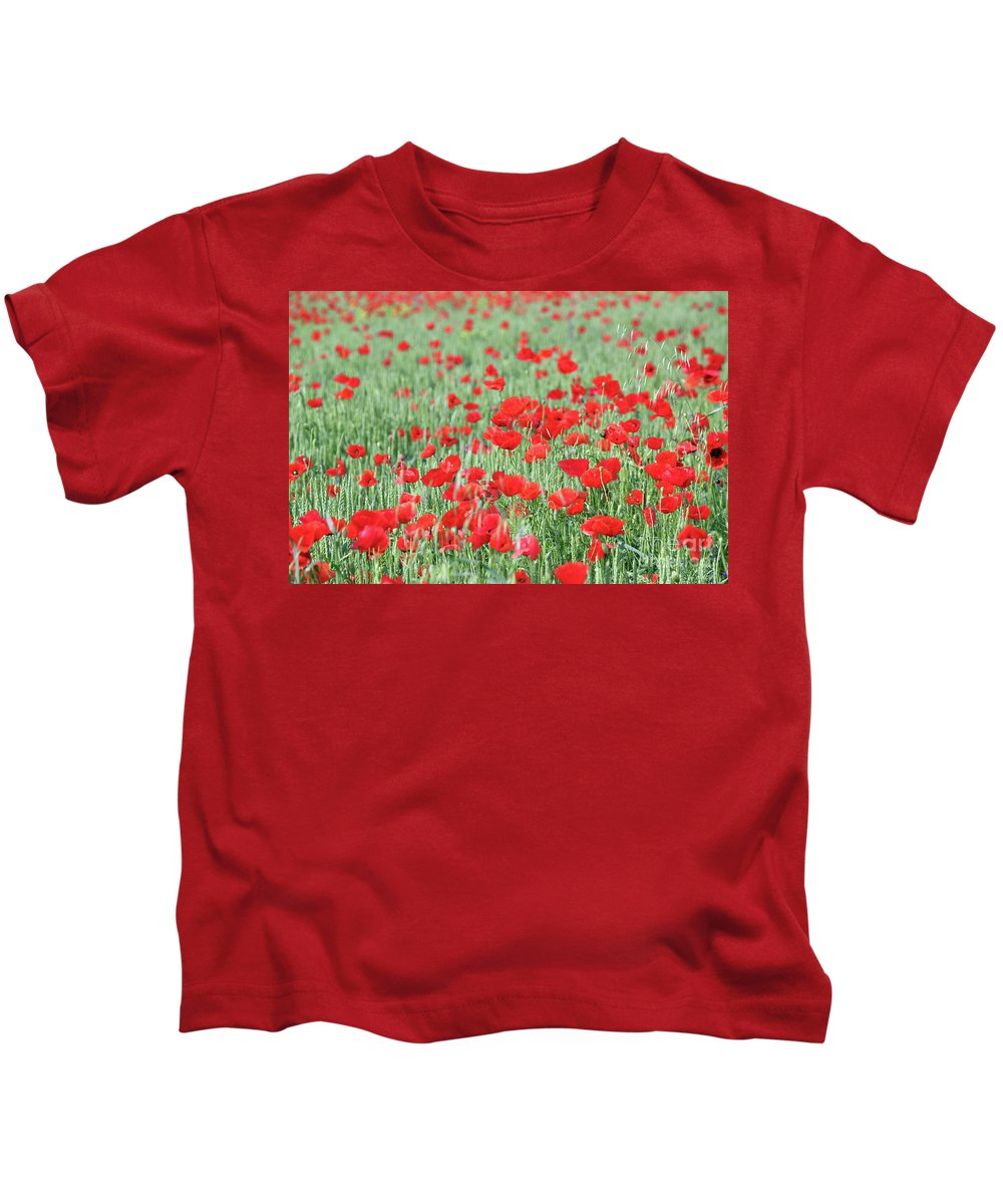 Wheat Kids T-Shirt featuring the photograph Green Wheat With Poppy Flowers by Goce Risteski