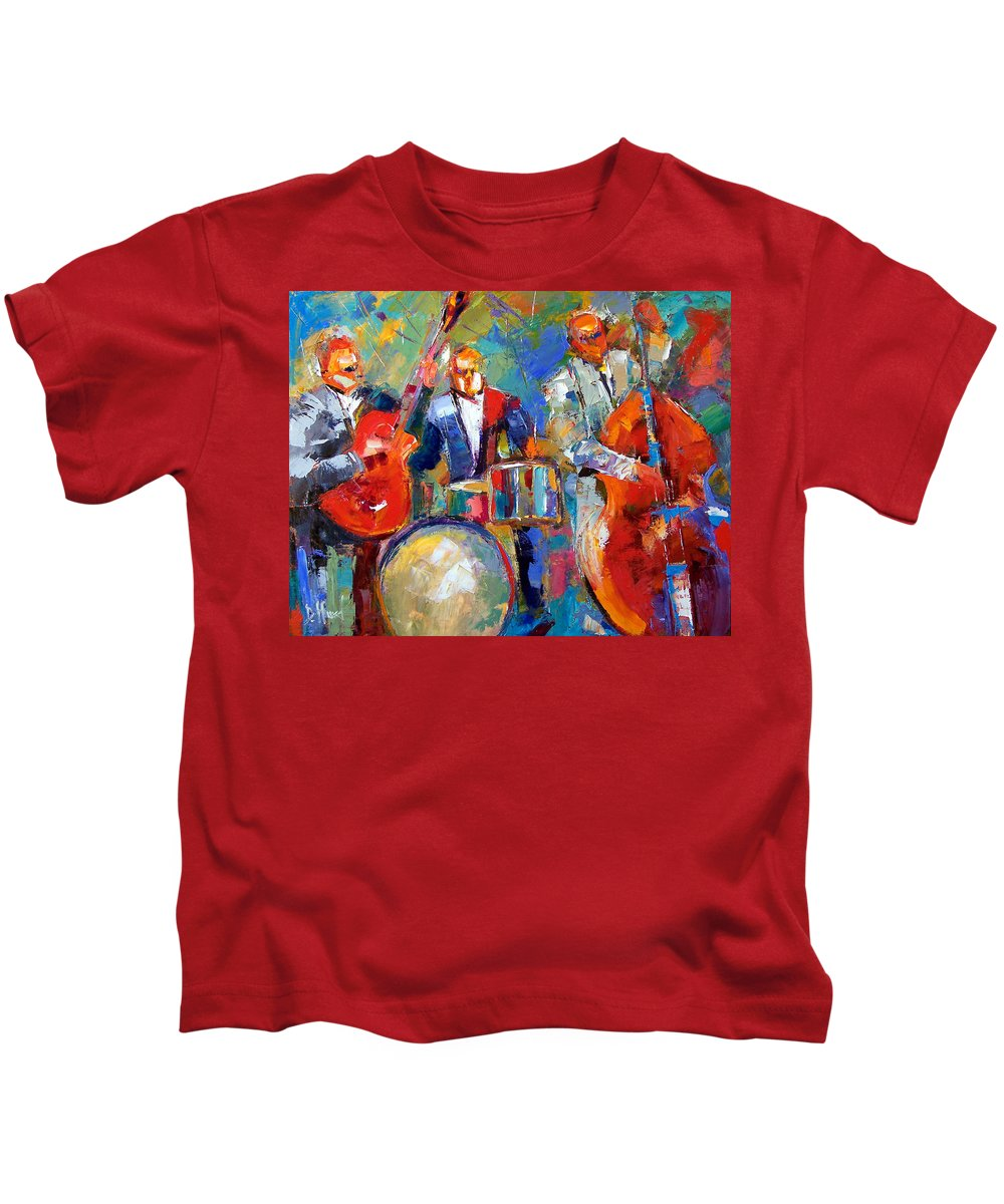 Jazz Painting Kids T-Shirt featuring the painting Guitar Drums And Bass by Debra Hurd