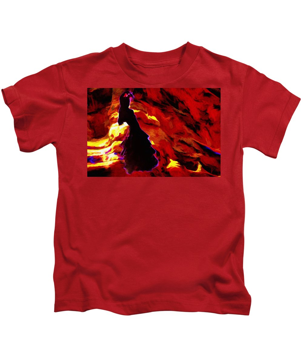 Gypsy Kids T-Shirt featuring the painting Gypsy Flame by Jim Buchanan