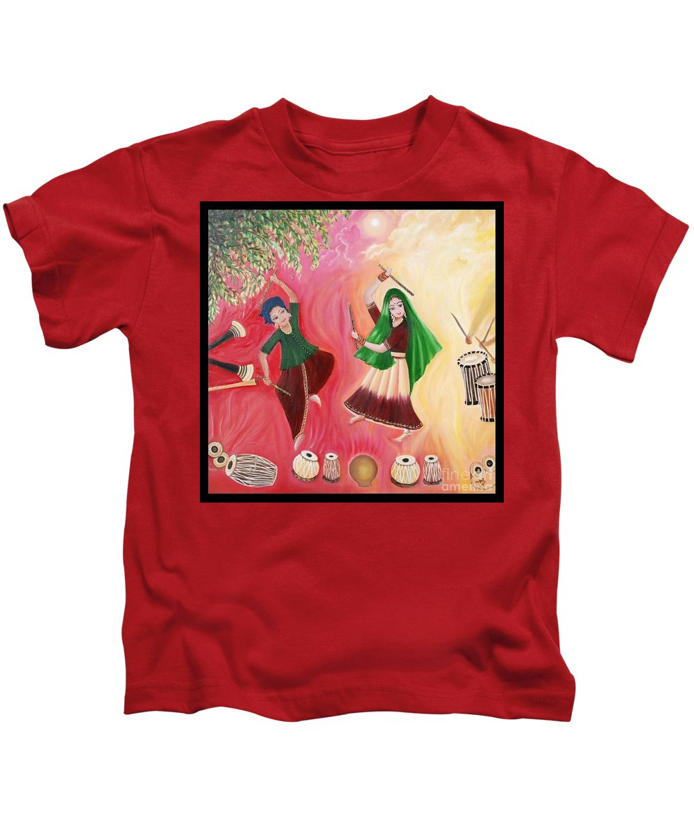 Figurative Kids T-Shirt featuring the painting Happiness by Usha Rai