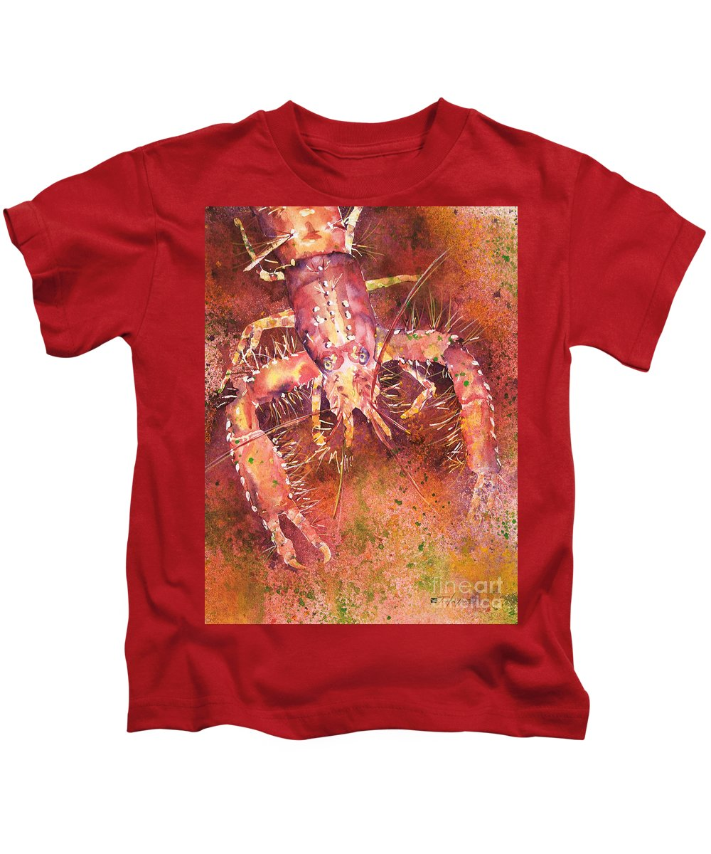 Animal Art Kids T-Shirt featuring the painting Hawaiian Lobster by Tanya L Haynes - Printscapes