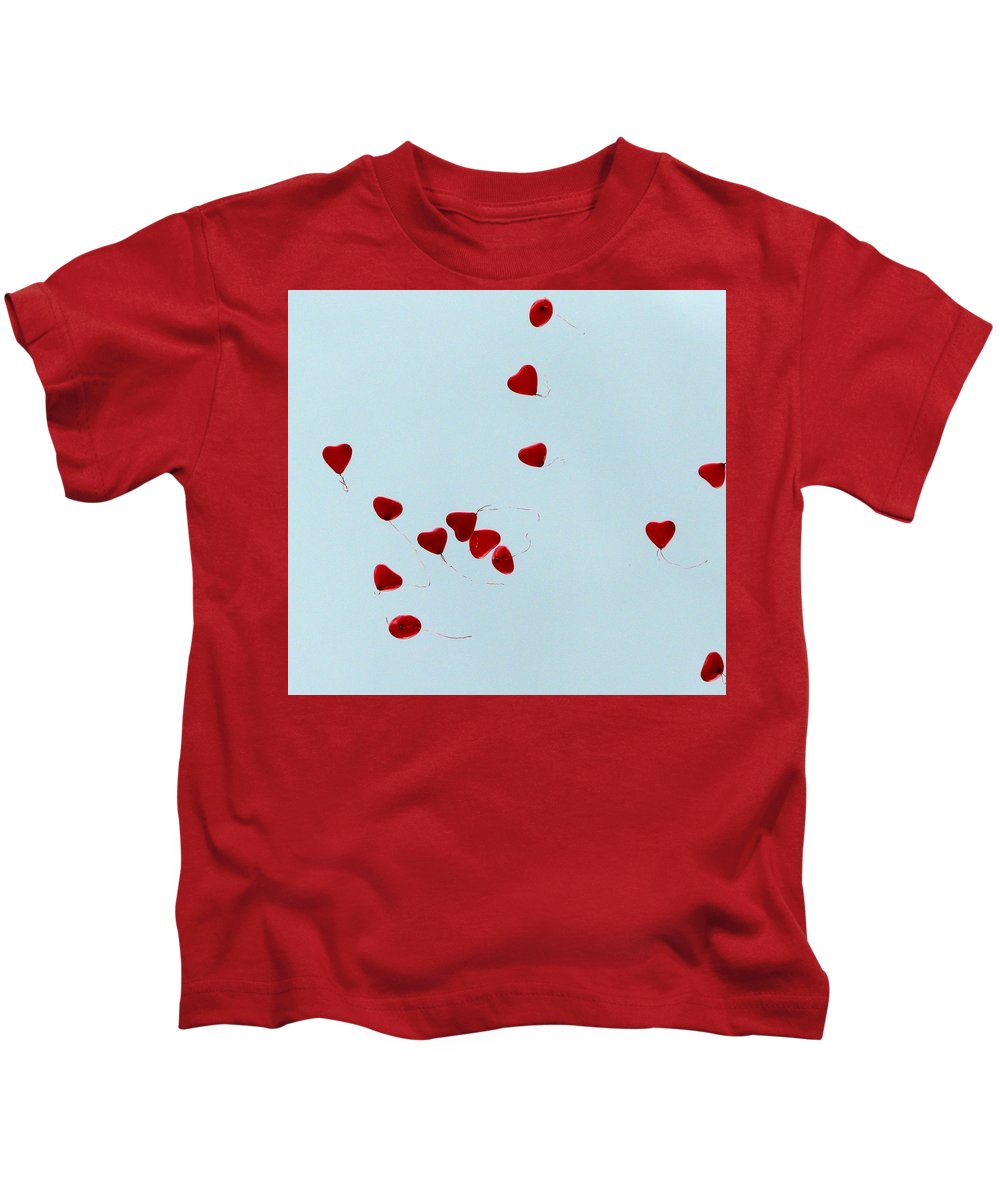 Balloon Kids T-Shirt featuring the photograph Heart Balloons In The Sky by Valerie Ornstein