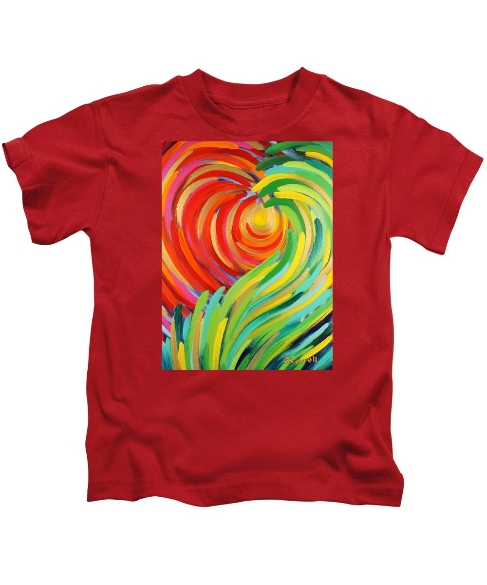Abstract Kids T-Shirt featuring the painting Heart Of God by Gary Rowell