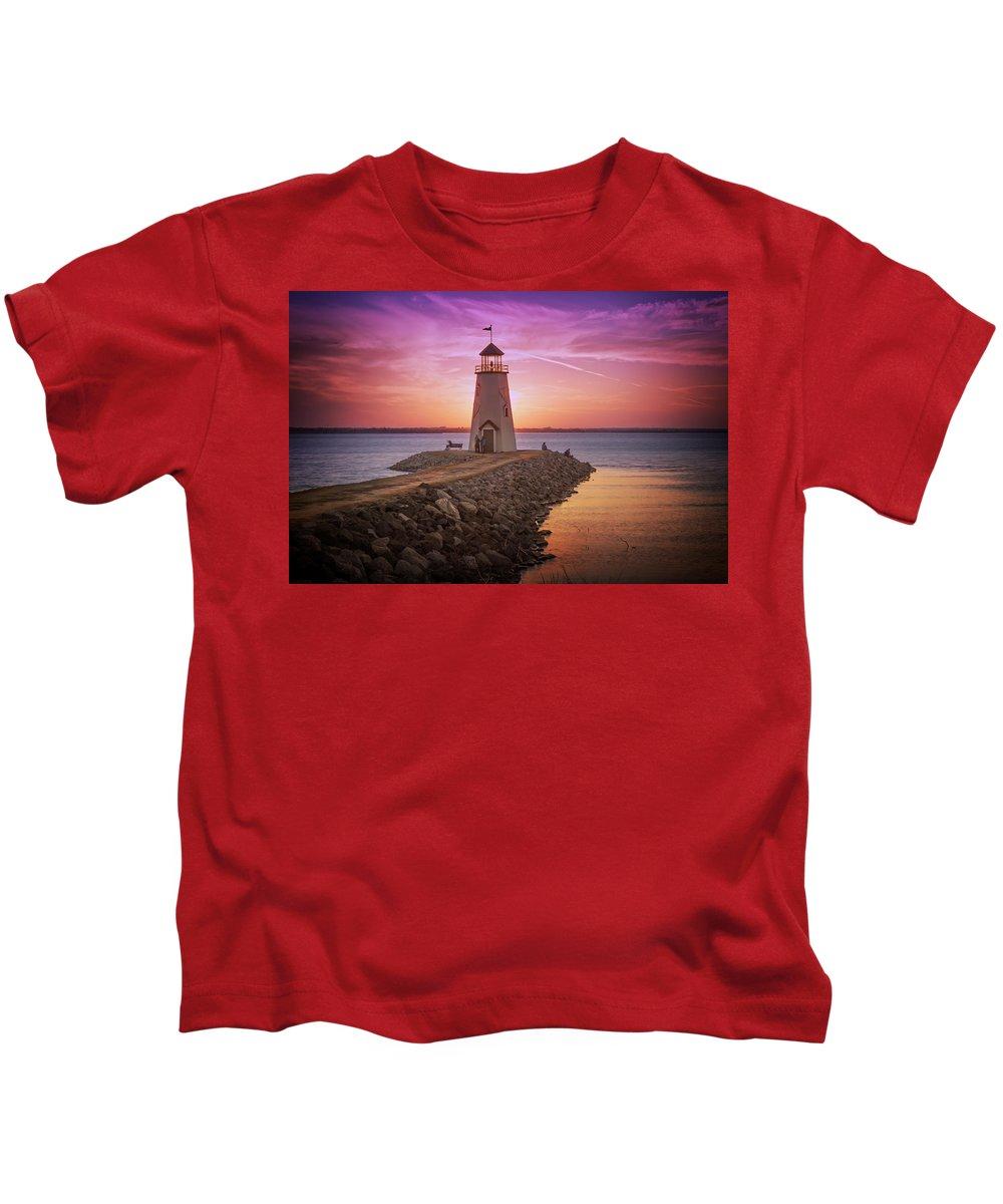 Lighthouse Kids T-Shirt featuring the photograph Hefner Lighthouse by Ricky Barnard