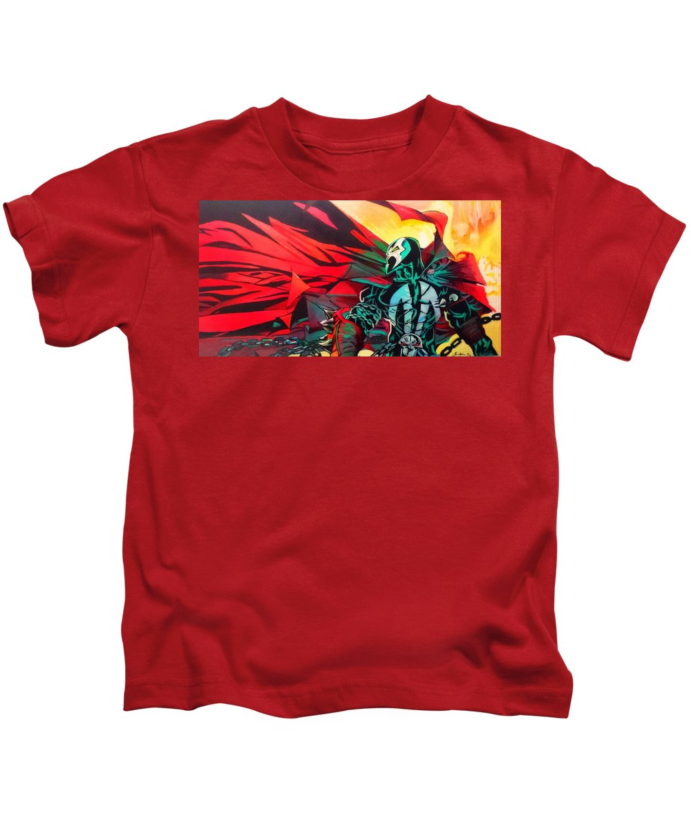 Spawn Kids T-Shirt featuring the painting Hell Of A Day by Jason Majiq Holmes