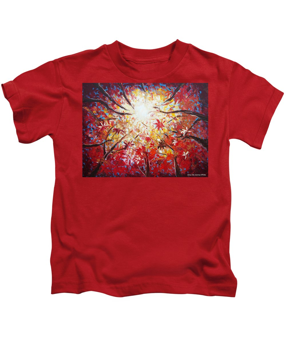Red Kids T-Shirt featuring the painting High Red by Gina De Gorna
