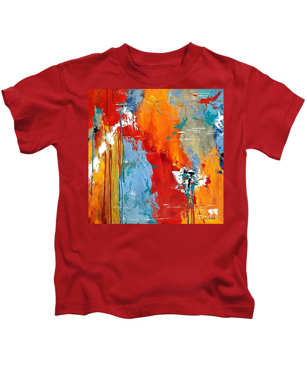 Abstract Art Kids T-Shirt featuring the painting High Spirits by Mary Mirabal