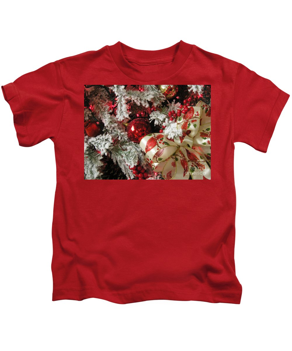 Tree Kids T-Shirt featuring the photograph Holiday Cheer I by Maria Bonnier-Perez