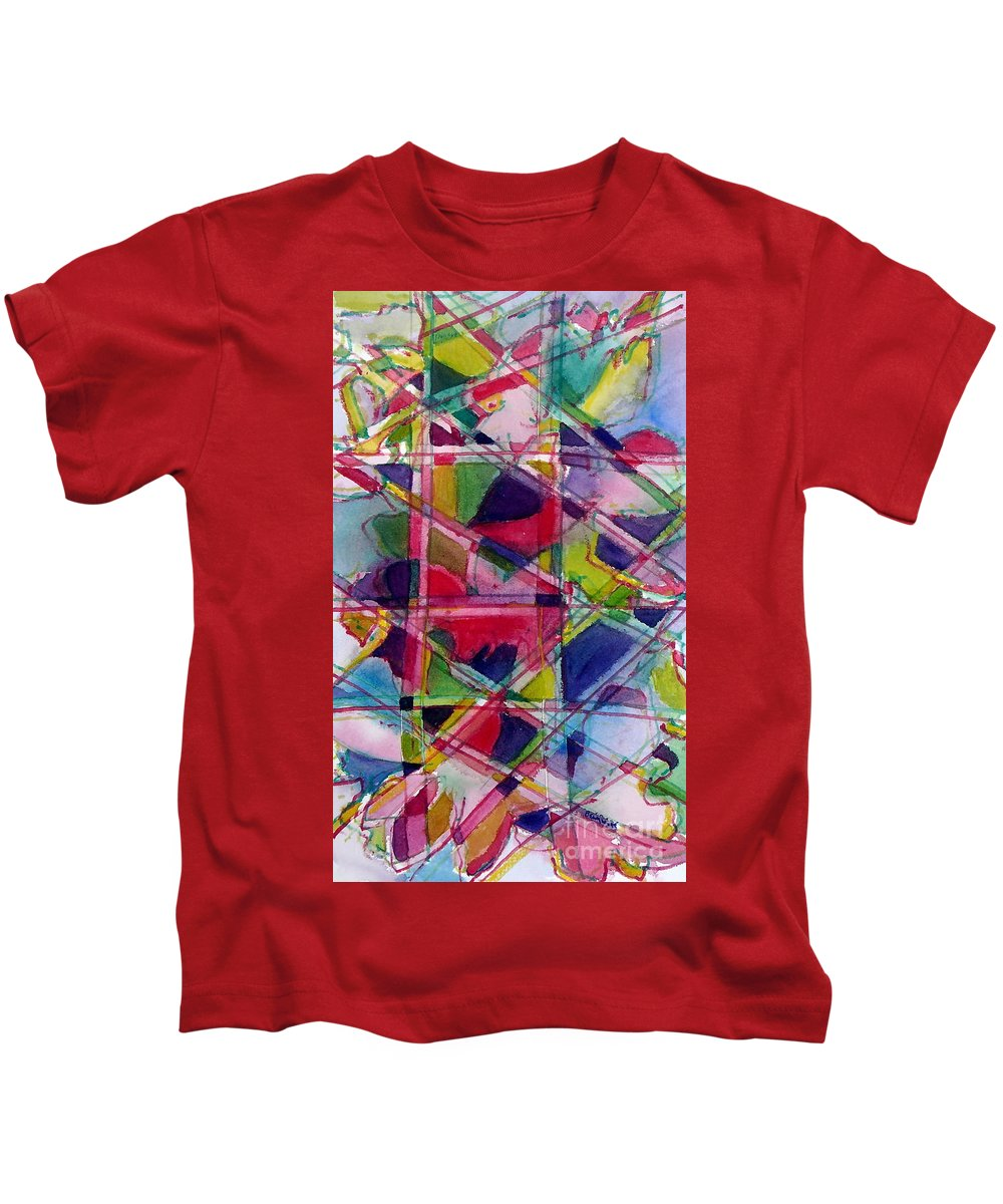 Abstract Kids T-Shirt featuring the painting Holiday Rush by Jan Bennicoff