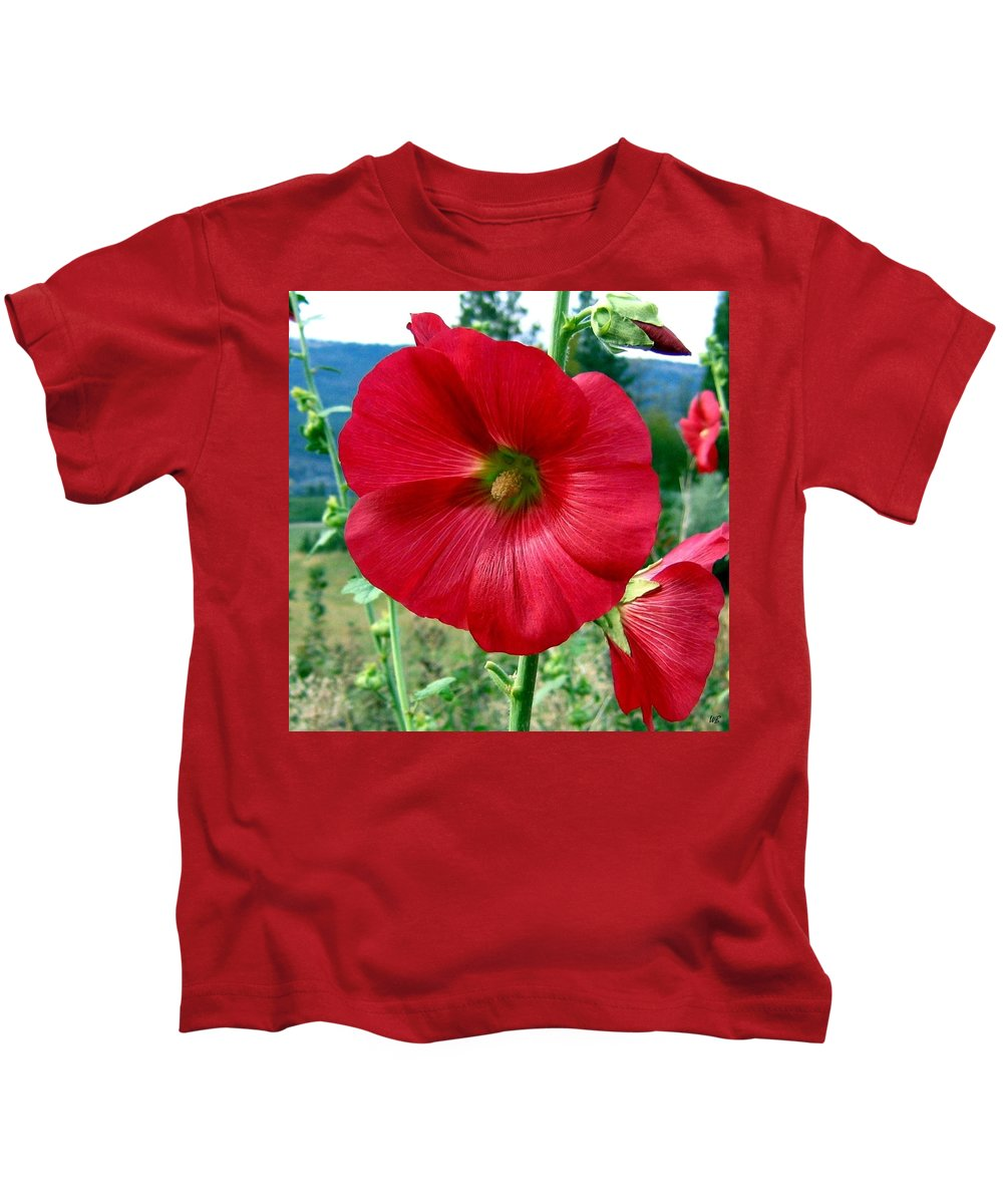 Hollyhocks Kids T-Shirt featuring the photograph Hollyhock Hill by Will Borden