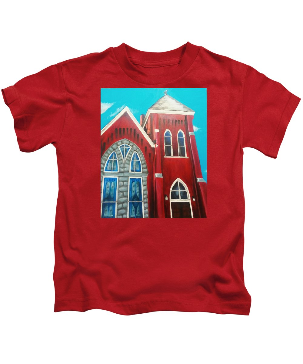 House Kids T-Shirt featuring the painting Home Town Church by Corina Castillo