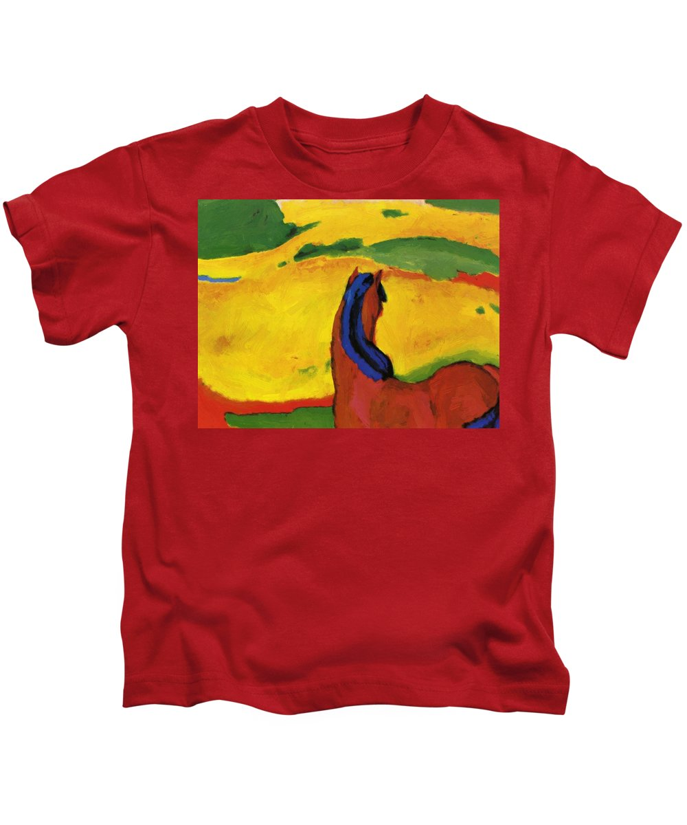 Horse Kids T-Shirt featuring the painting Horse In A Landscape 1910 by Marc Franz