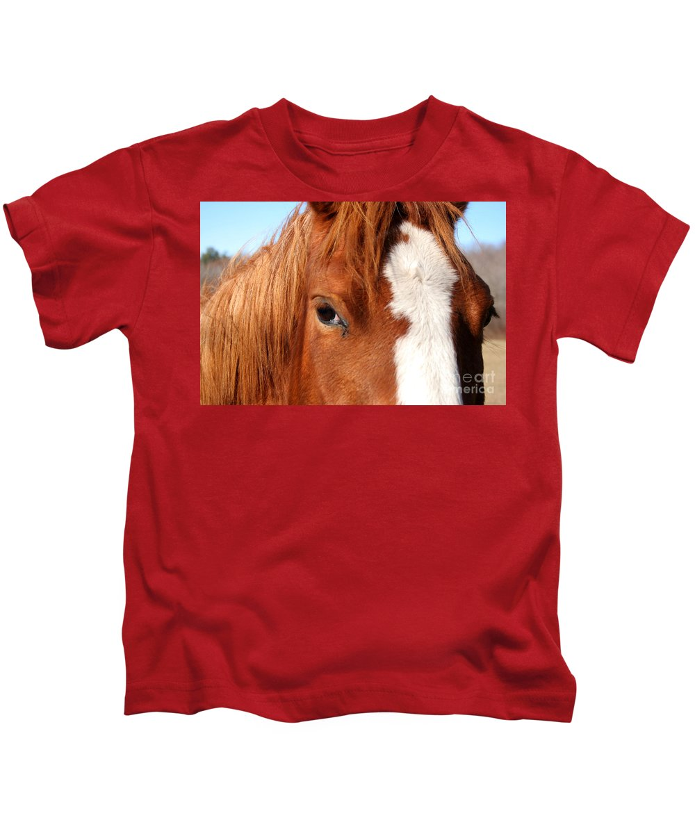 Horse Kids T-Shirt featuring the photograph Horse's Mane by Thomas Marchessault