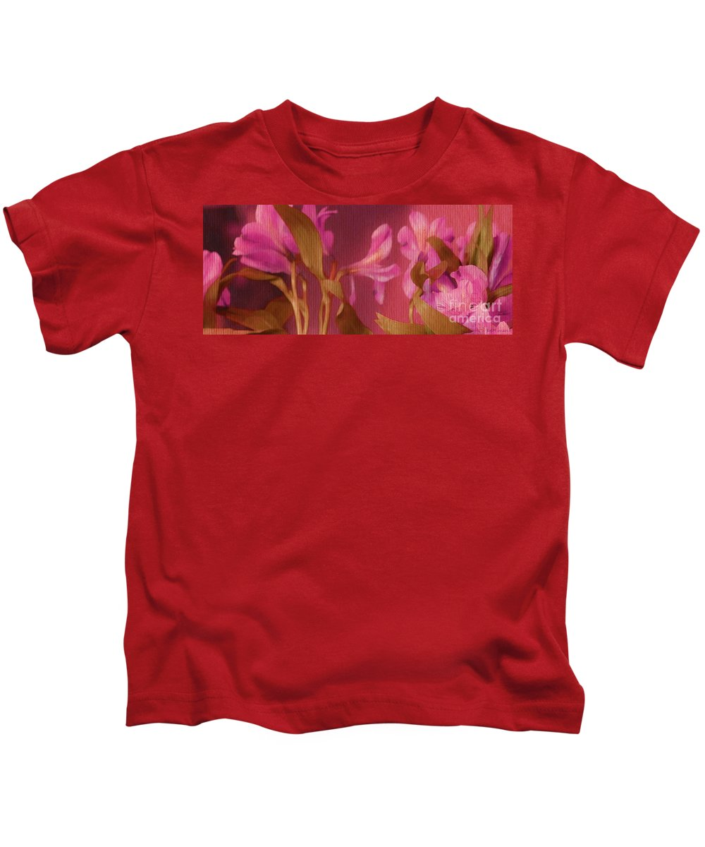Hot Pink Lilies Kids T-Shirt featuring the digital art Hot Pink Lilies by Elizabeth McTaggart