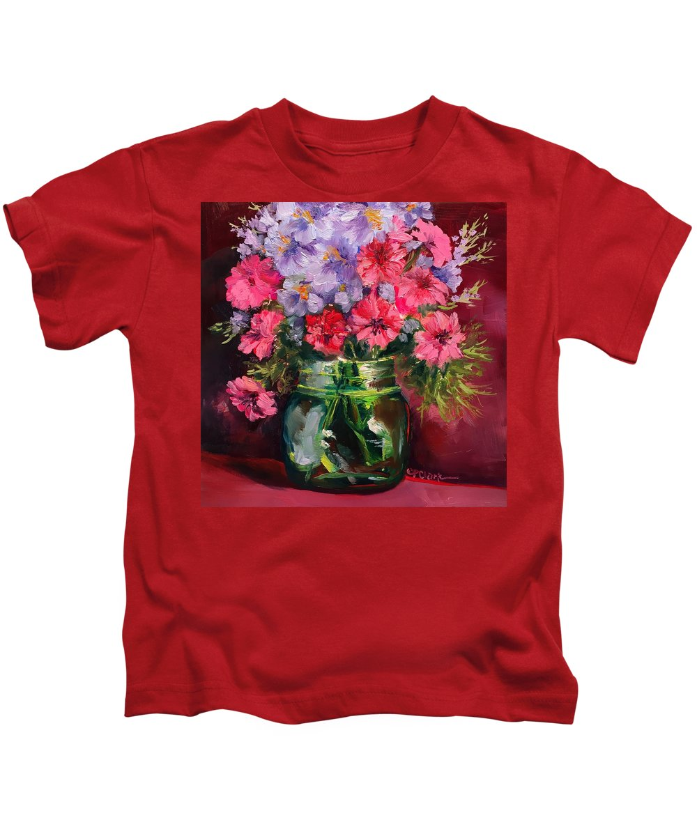 Floral Kids T-Shirt featuring the painting I Am Here Waiting For You by Donna Pierce-Clark