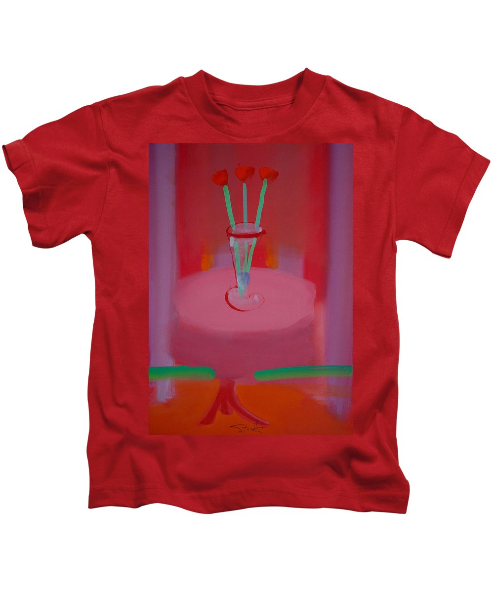 Vase Kids T-Shirt featuring the painting In The Red Room by Charles Stuart