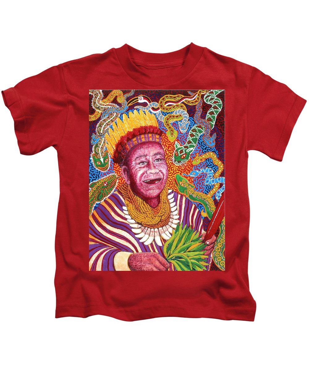 Surrealism Kids T-Shirt featuring the painting Ingano Shaman Antonio Jacanajimoy by Timothy White