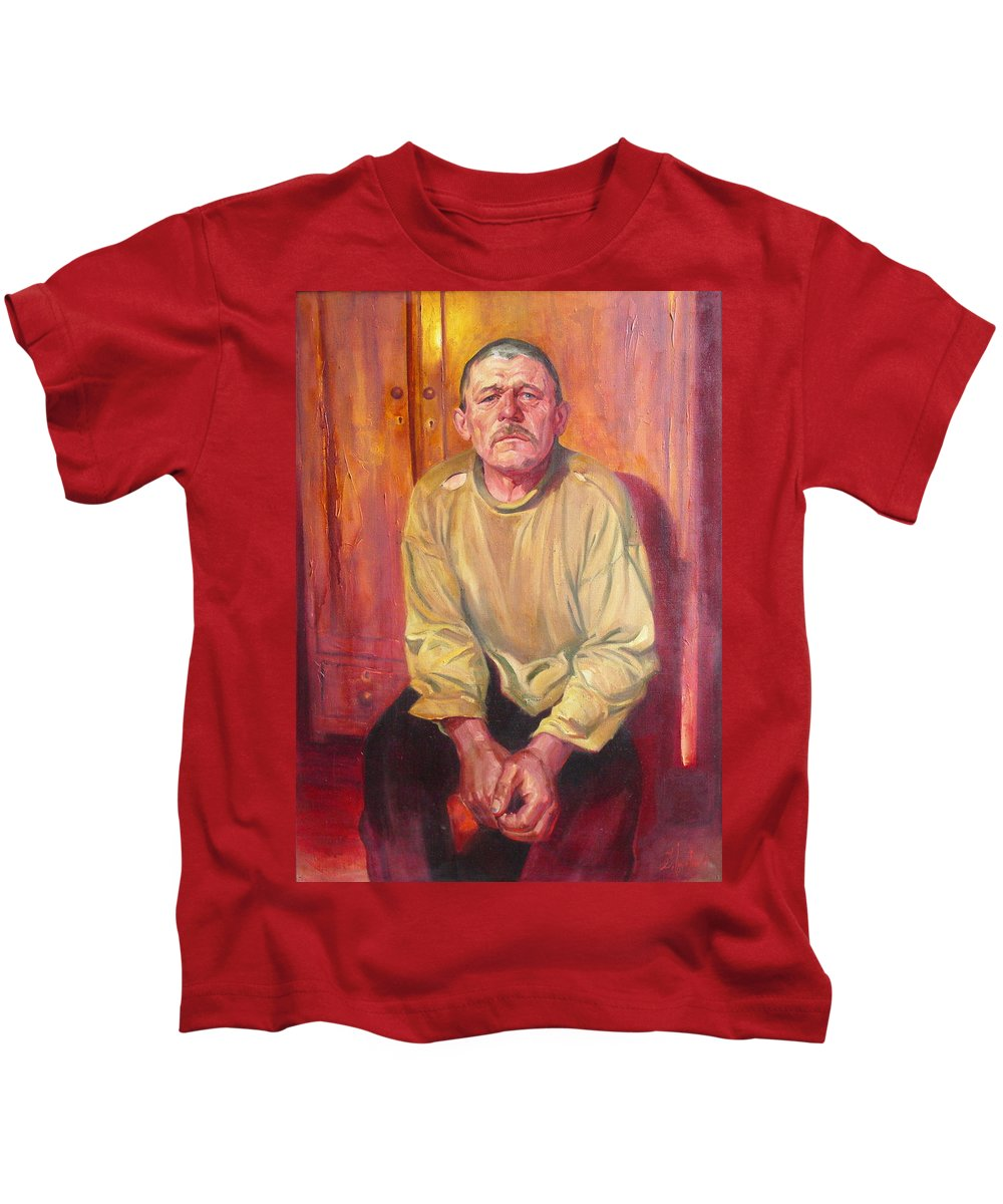 Oil Kids T-Shirt featuring the painting Inhabitant Of Chernobyl Zone by Sergey Ignatenko
