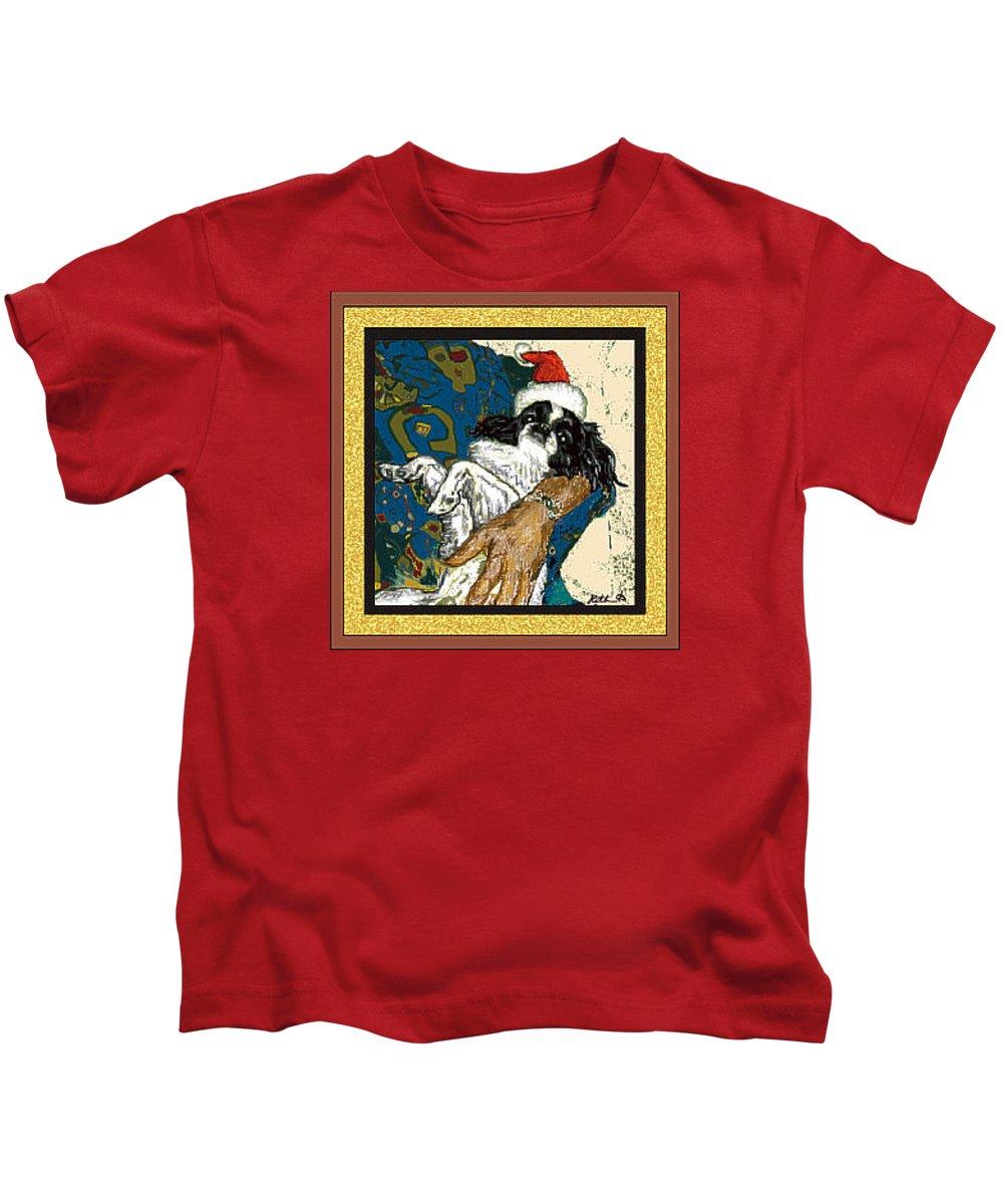 Japanese Chin Kids T-Shirt featuring the digital art Japanese Chin Christmas by Kathleen Sepulveda