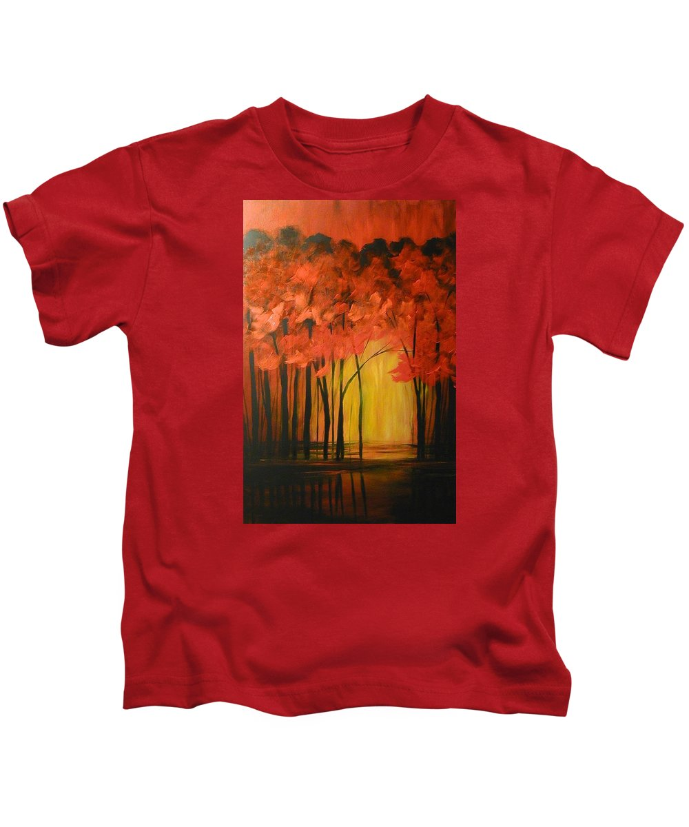 Abstract Kids T-Shirt featuring the painting Japanese Forest by Sabina Surya Naya