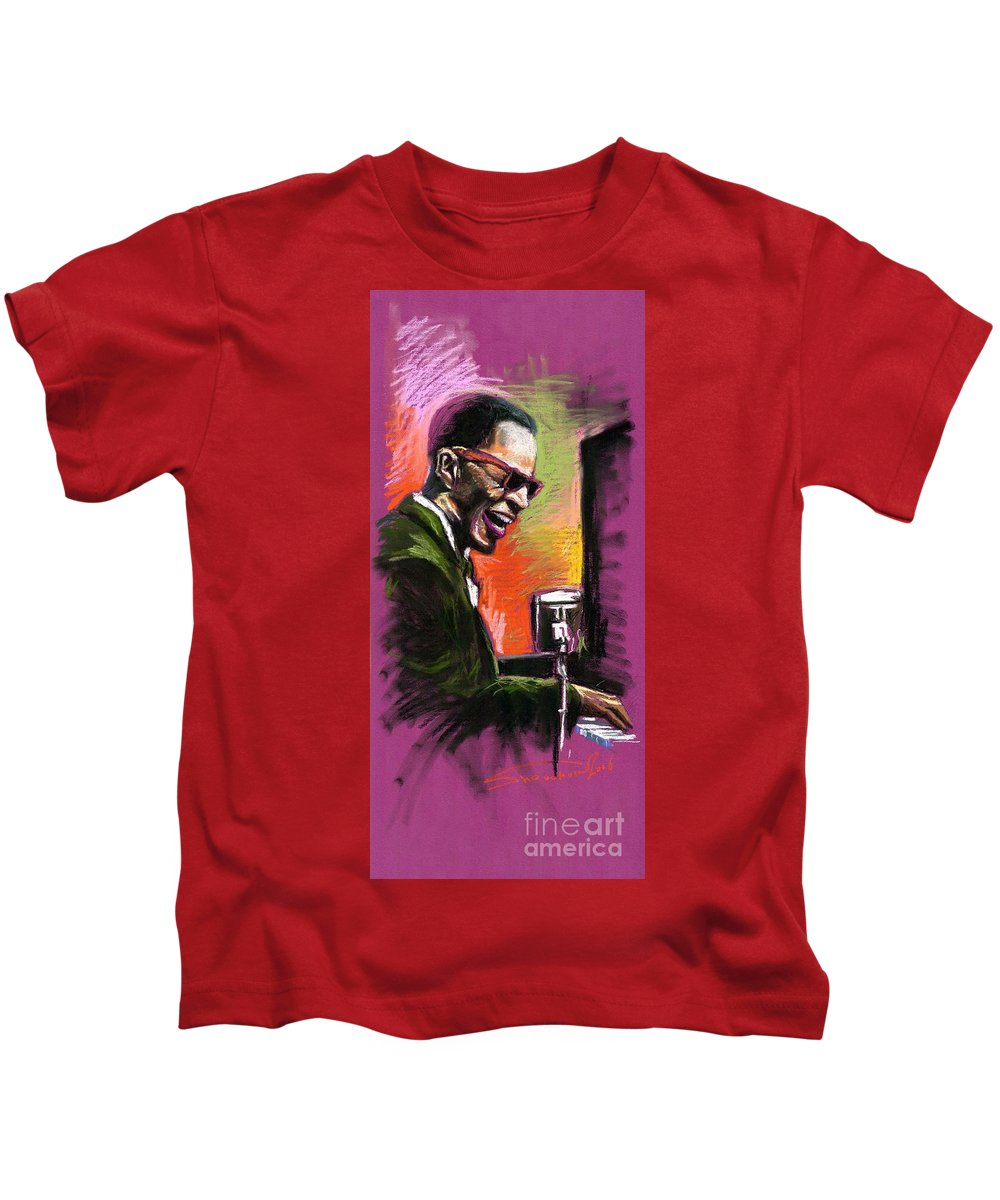 Kids T-Shirt featuring the painting Jazz. Ray Charles.2. by Yuriy Shevchuk