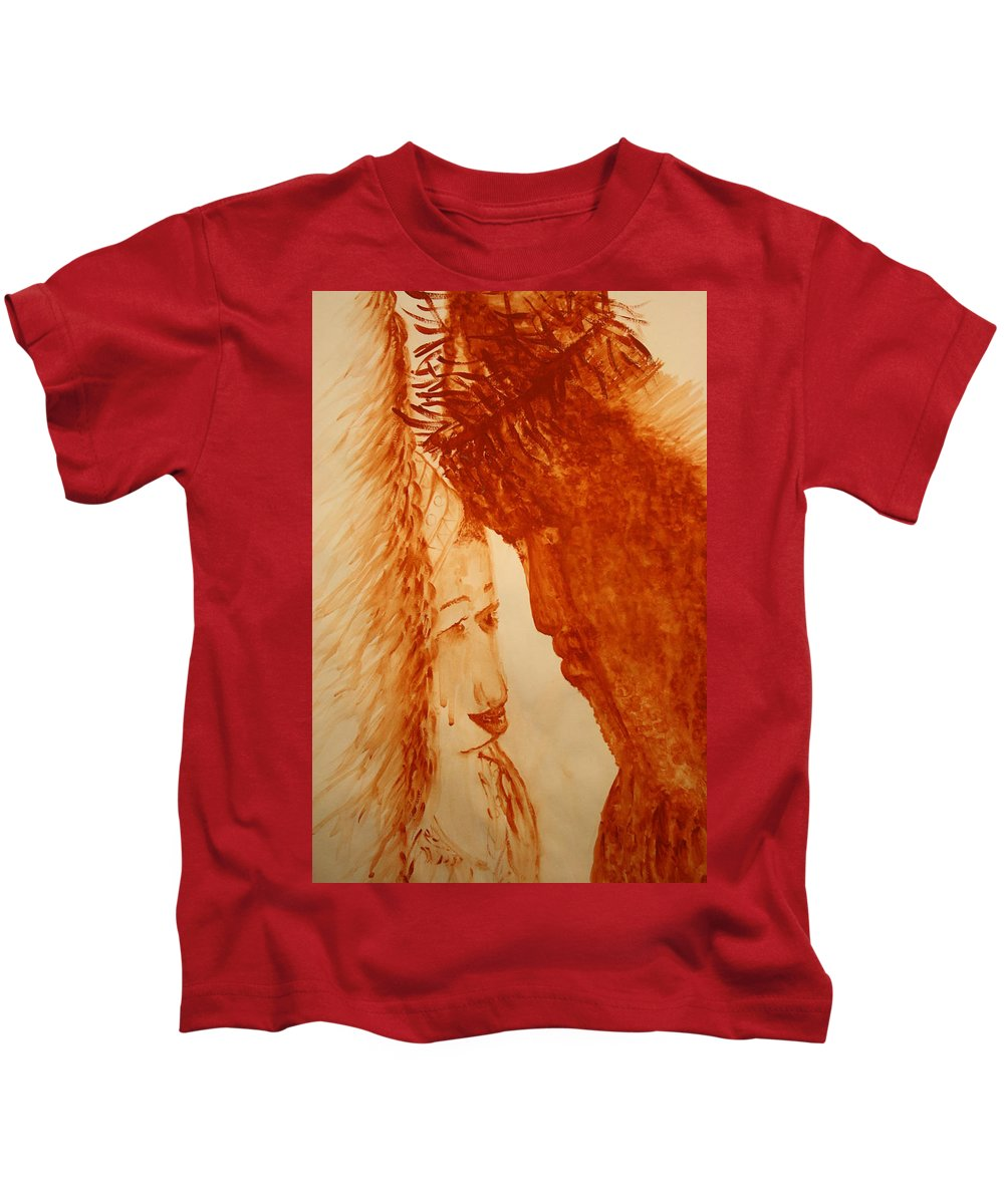 Jesus Kids T-Shirt featuring the painting Jesus Meets Mother Mary On The Road To Calvary by Gloria Ssali