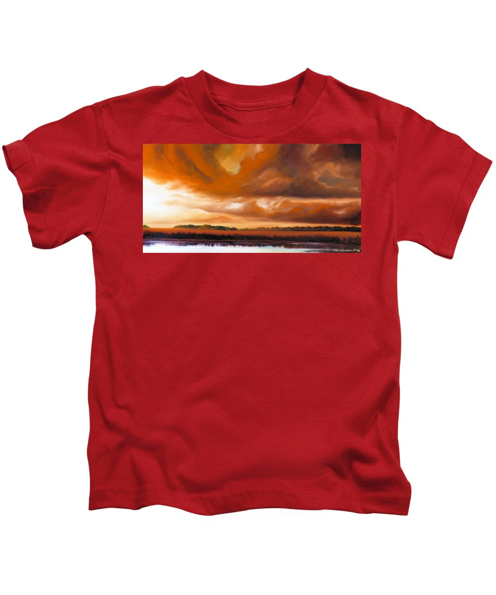 Clouds Kids T-Shirt featuring the painting Jetties On The Shore by James Christopher Hill