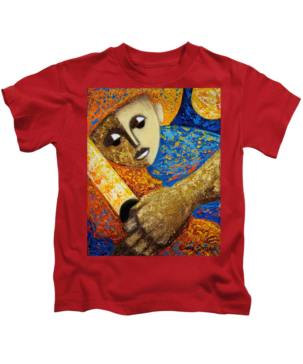 Color Kids T-Shirt featuring the painting Jibaro Y Sol by Oscar Ortiz