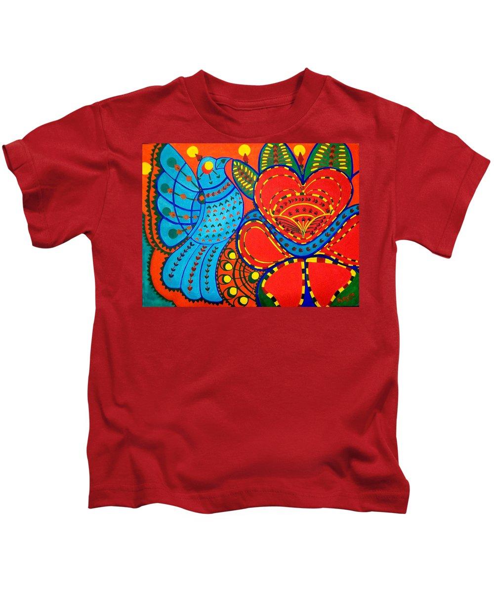 Contemporary Folk Kids T-Shirt featuring the painting Jinga Bird - Jinga Bird Series by Fareeha Khawaja
