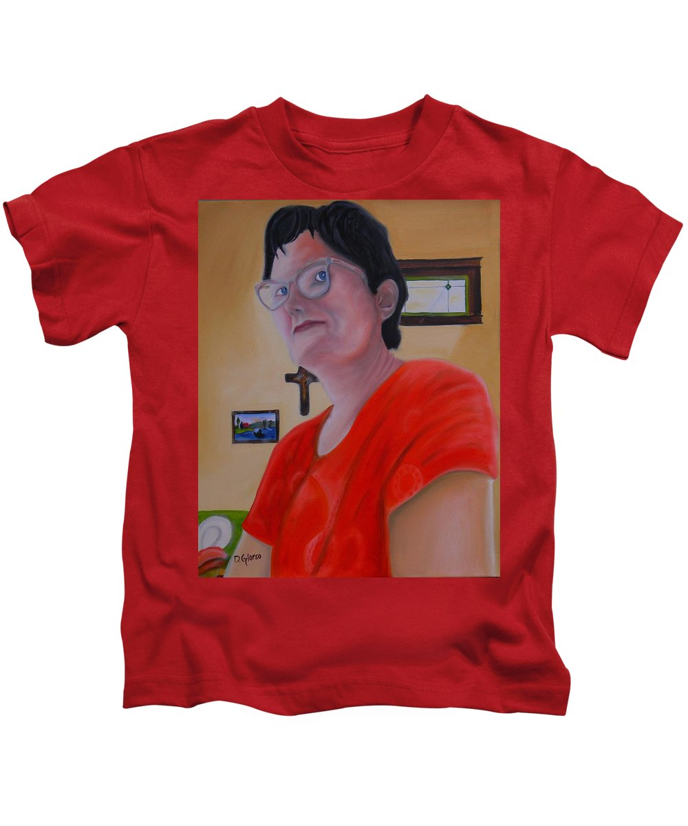 #glorso Kids T-Shirt featuring the painting Joan Of Smart by Dean Glorso