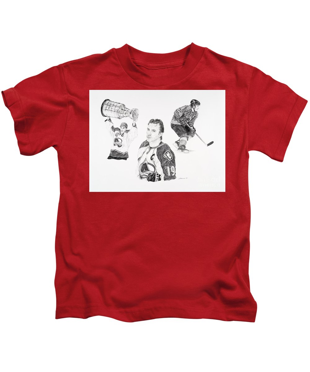 Hockey Kids T-Shirt featuring the drawing Joe Sakic by Shawn Stallings