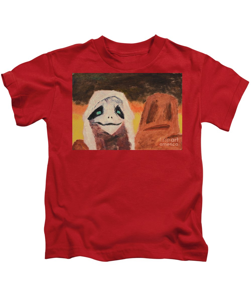 Face Kids T-Shirt featuring the painting Just Married by Oleg Konin