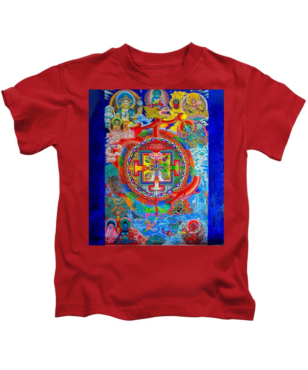 Spirituality Kids T-Shirt featuring the painting Karuna Mandala by Padmananda