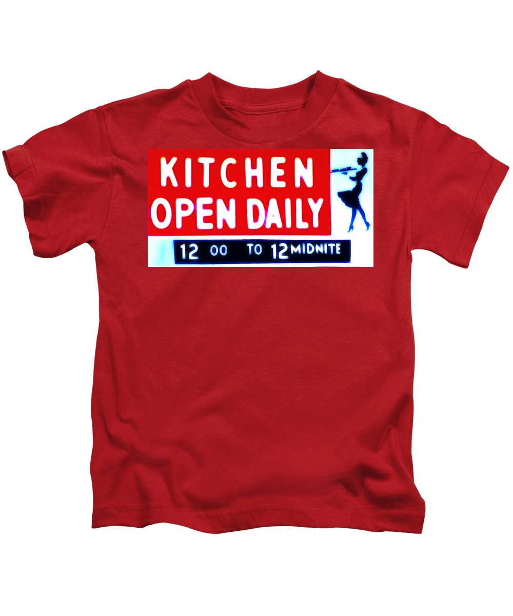 Kitchen Kids T-Shirt featuring the photograph Kitchen Open Daily by Bill Cannon