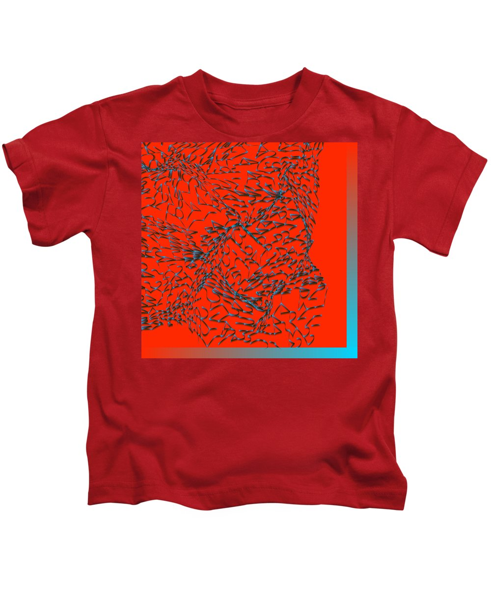 Rithmart Abstract Digital Computer Generated Organic Random Iterative Recursive 214 255 3000wx3000h 3wx3h 41 Algorithm Another Blue Color Colors Combination Determined Drawing Drawn Image Images Line Lines Made One Pixels Randomly Red Scale Series Shaded Shape Two Using Values Kids T-Shirt featuring the digital art L11-0-214-255-255-41-0-3x3-3000x3000 by Gareth Lewis
