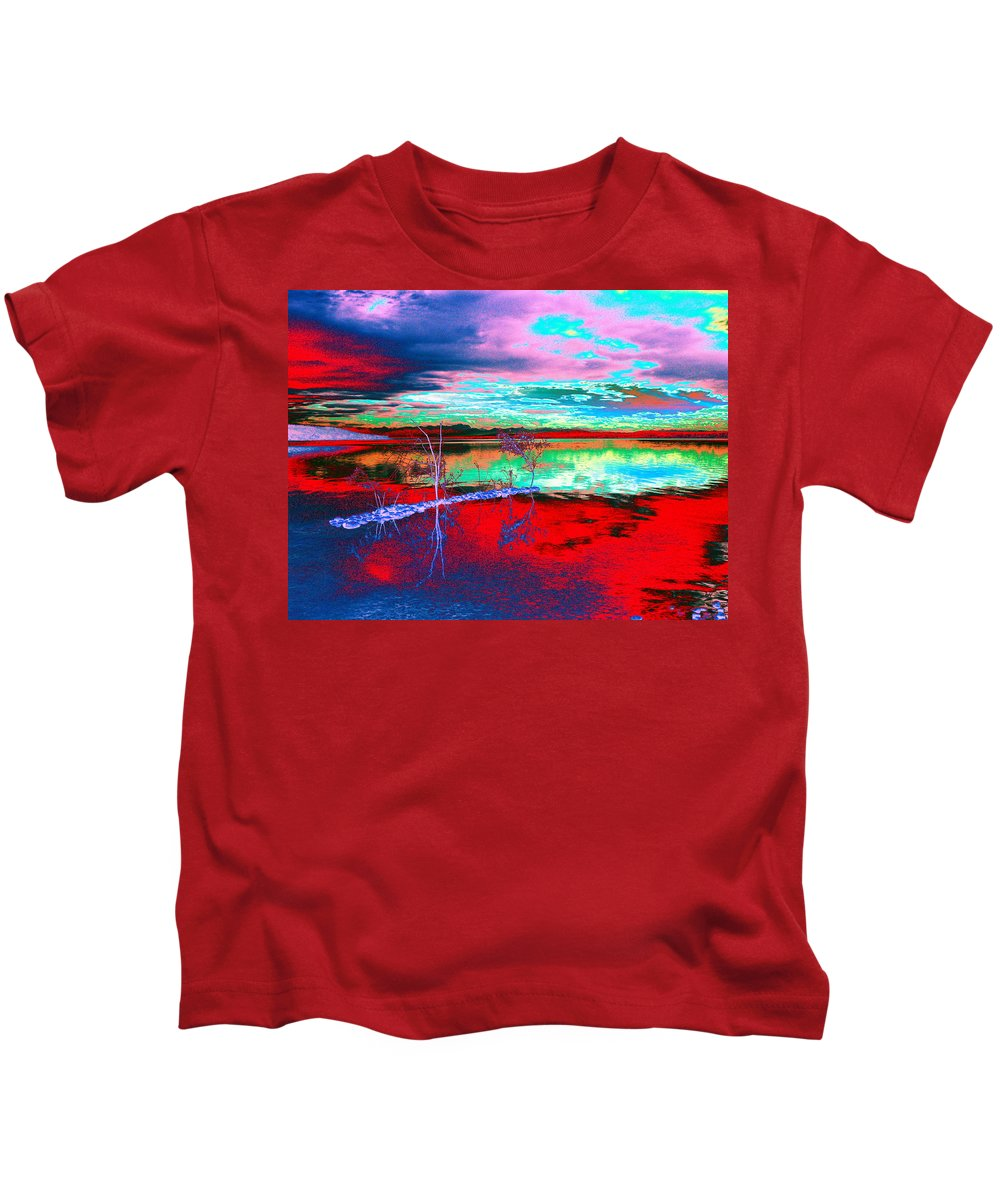 Sea Kids T-Shirt featuring the digital art Lake In Red by Helmut Rottler