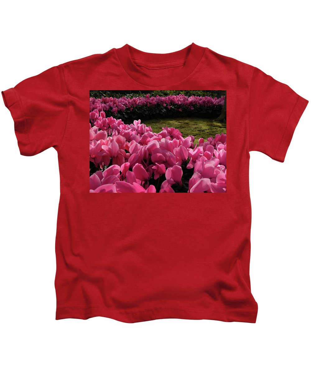 Kids T-Shirt featuring the photograph Lane Of Pink by Trish Tritz