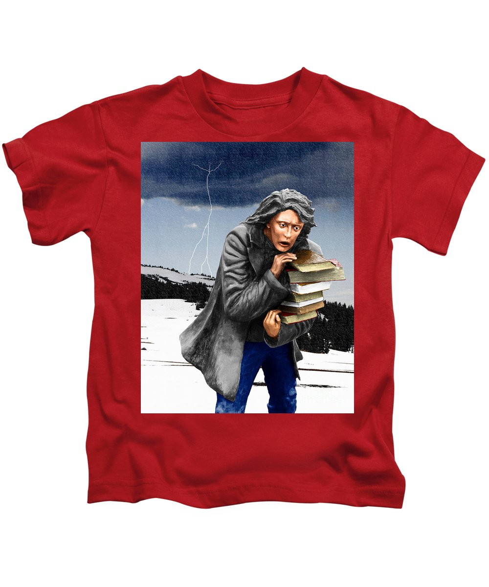Books Kids T-Shirt featuring the digital art Last Books Of Knowledge by Keith Dillon